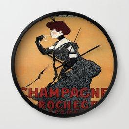 Vintage poster - Champagne De Rochegre Wall Clock