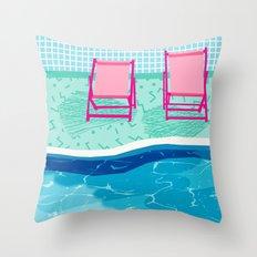 Vay-K - abstract memphis throwback poolside swim team palm springs vacation socal pool hang  Throw Pillow