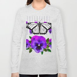 WHITE MONARCH BUTTERFLY & PURPLE PANSIES Long Sleeve T-shirt