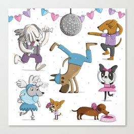 Valentine's Doggy Dance Party Canvas Print