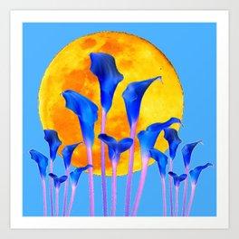 GOLDEN FULL MOON BLUE CALLA LILIES BLUE ART Art Print