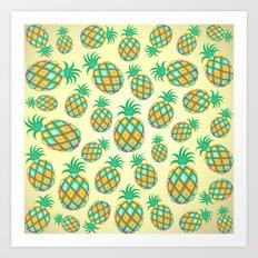 Pineapple Pastel Colors Pattern Art Print