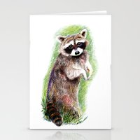 raccoon Stationery Cards featuring Raccoon by Anna Shell