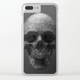 Geometric Grey Skull Lines Clear iPhone Case