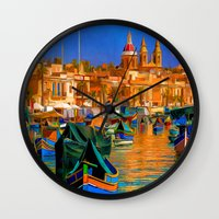 channel Wall Clocks featuring The Channel by Robin Curtiss