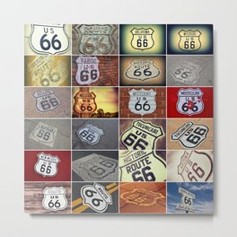 Historic U.S. old Route 66 signs. Metal Print