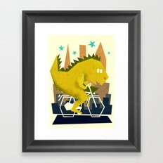 Godzilla going to town Framed Art Print