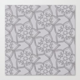 Silver gray lacey floral 2 Canvas Print