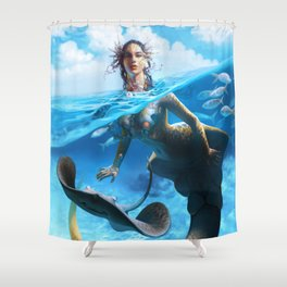 Ray Mermaid Shower Curtain