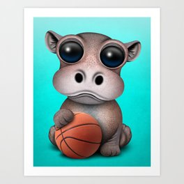 Cute Baby Hippo Playing With Basketball Art Print