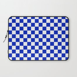 Cobalt Blue and White Checkerboard Pattern Laptop Sleeve