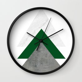 Marble Green Concrete Arrows Collage Wall Clock