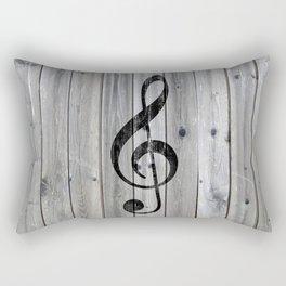 Vintage black music note Treble Clef gray wood Rectangular Pillow
