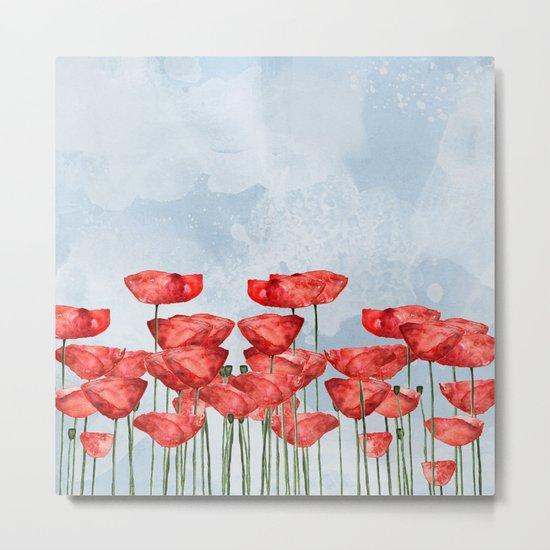 Poppyfield poppies poppy blue sky- watercolor artwork Metal Print