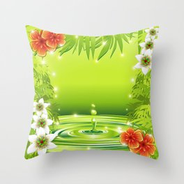 Green Water Bamboo and Tropical Flowers Throw Pillow