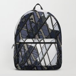 blue glass and steel abstract urban design Backpack