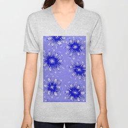 Blue Christie Rose Unisex V-Neck