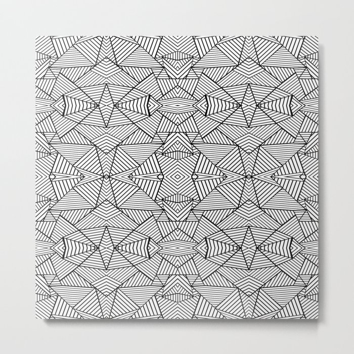 Abstract Mirror Black on White Metal Print