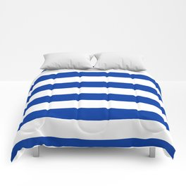 Dark Princess Blue and White Wide Horizontal Cabana Tent Stripe Comforters
