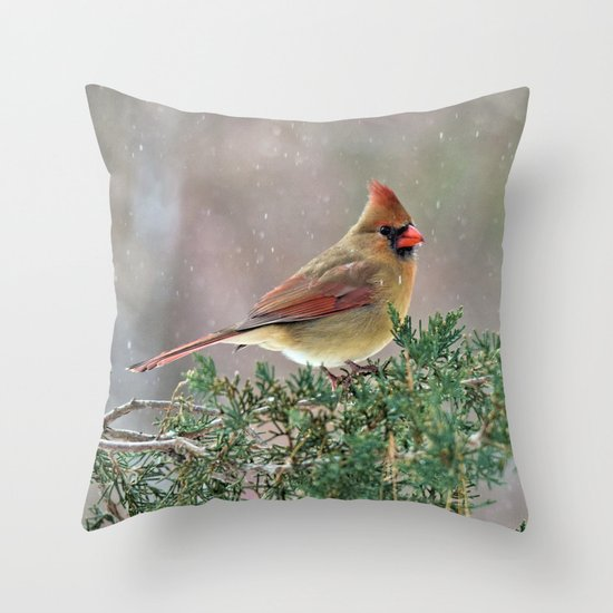Waiting for Christmas Cardinal Throw Pillow