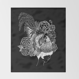 Rooster&Camellia Hat, White on Black Throw Blanket