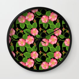 roses flowers bud pink red Wall Clock