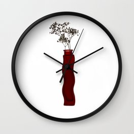 Red vase with white flowers Wall Clock