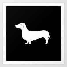 Dachshund silhouette minimal black and white dog lover home decor gifts accessories silhouette Art Print