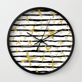 Pattern with brush stripes and gold glitter cross Wall Clock
