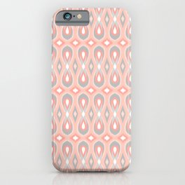 Ikat Teardrops in Peach and Gray iPhone Case