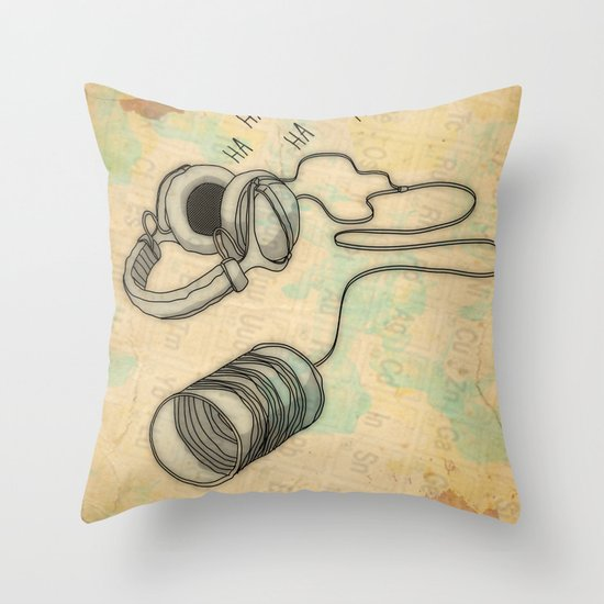 canned laughter _ head phones Throw Pillow