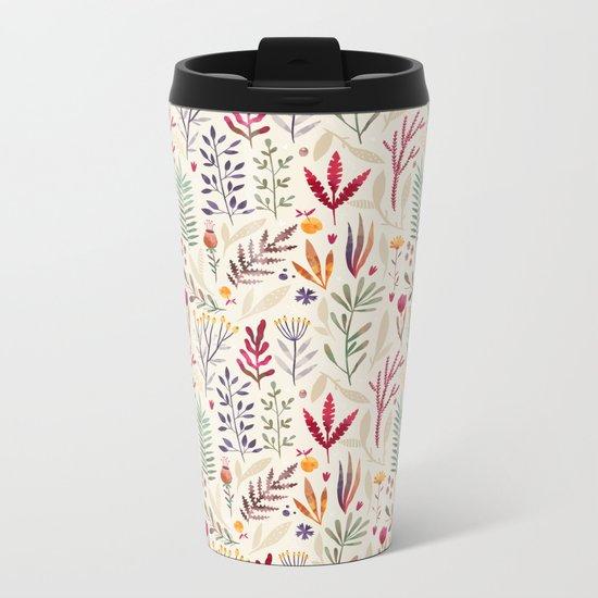Light  Botanical Pattern Metal Travel Mug