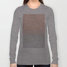Modern trendy rose gold glitter ombre silver glitter Long Sleeve T-shirt