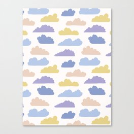 Hand drawn vector cloud illustration. Seamless repeating pattern Canvas Print