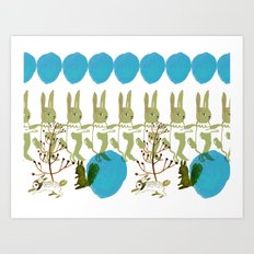 rabbits, squirrel, dot and plant Art Print