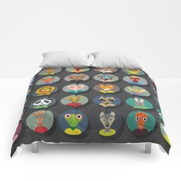 animals faces circle icons set in Trendy Flat Style. zoo Comforters