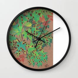 Dotty leaves, fall floral, pastel drawing, life sketch, nature art Wall Clock