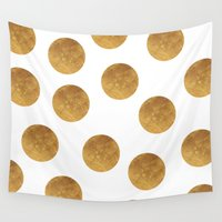 polkadot Wall Tapestries featuring GOLD POLKADOT 2 by wlydesign
