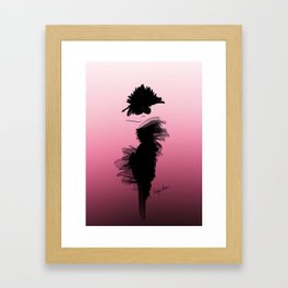 Fashion model in little black dress and pink Framed Art Print