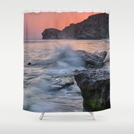 Big Wave. La Joya Beach At Sunset. Shower Curtain