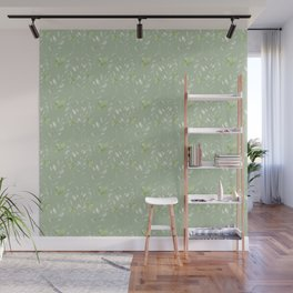 Mint green watercolor hand painted floral leaves Wall Mural