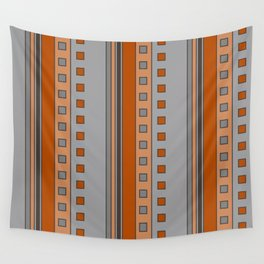 Squares and Stripes in Terracotta and Gray Wall Tapestry