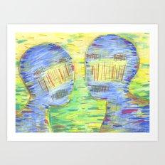 Blue Couple Art Print