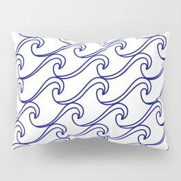Rough Sea Pattern - blue on white Pillow Sham