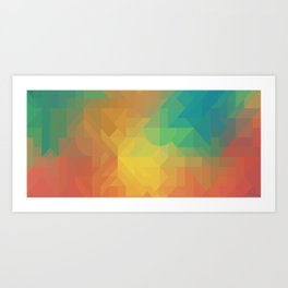 Geometric Pattern // Intricate Detailed Shapes // Gradient Colors (Orange, Yellow, Teal, Green, Red) Art Print