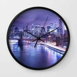 New York City Night Lights : Periwinkle Blue Wall Clock