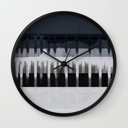 White Wash, Dark Alleys, Blue Wharf Wall Clock