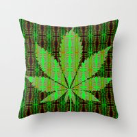 marijuana Throw Pillows featuring Marijuana Leaf by Trusty Russ Tees