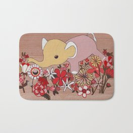 Elephant in the flowers Bath Mat