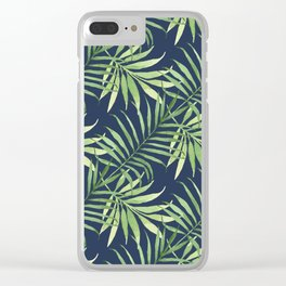 Tropical Branches on Dark Pattern 05 Clear iPhone Case